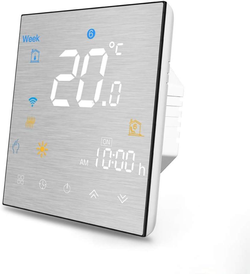 Termostato Wi-Fi para caldera de gas, pantalla LCD de control de programación de termostato inteligente (panel cepillado) Botón táctil Funciona con Alexa Google Home y la aplicación IOS/Android