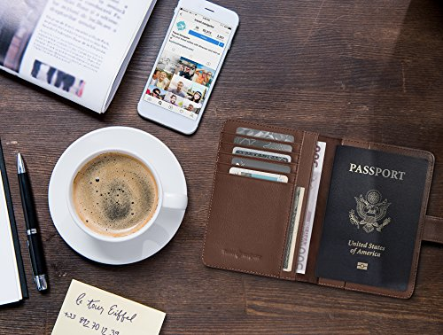 RFID Blocking Leather Travel Passport Holder With Snap, Bifold Wallet For Men And Women, Brown by Travel Navigator (Image #6)