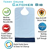 Crumb Catcher Adult Bib - Waterproof Absorbent Terry Cloth Senior Bibs Clothing Protector - Keeps Mealtime Clean (Light Blue, Single Pack)
