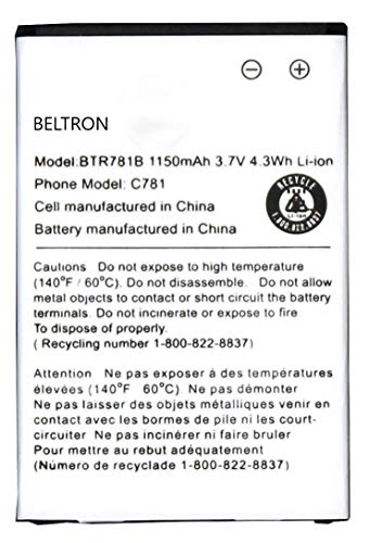 New 1150 mAh BTR781B Replacement Battery for Casio G'zOne C781 Ravine 2 Verizon Wireless Flip - Phones Verizon Cell Gzone