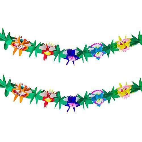 9 Foot Long Tropical Multicolored Paper Tissue Garland Flower Leaves Banner for Party Decorations, Birthdays, Event Supplies, Festivals, Children & Adults ()