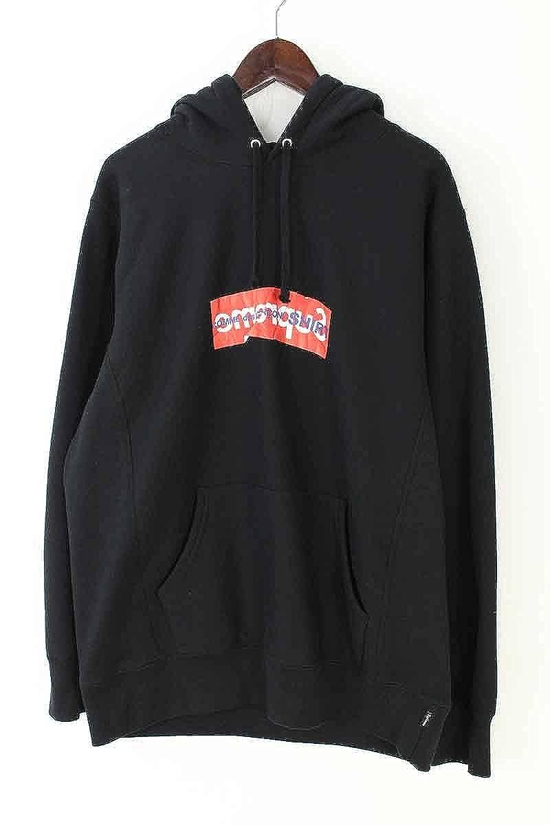 (シュプリーム) SUPREME ×コムデギャルソンシャツ/COMME des GARCONS SHIRT 【17SS】【Box Logo Hooded Sweatshirt】ペーパーアートボックスロゴプルオーバーパーカー(L/ブラック) 中古 B07DMGMXLR