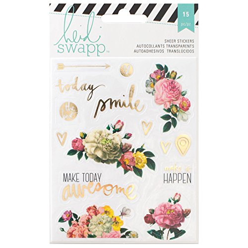 Heidi Swapp 15 Piece Memory Planner Floral Stickers with Gold Foil Finish, - Floral Finish