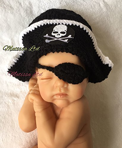 Matissa Newborn Baby Girl/Boy Crochet Knit Costume Photo Photography Prop Hats Outfits (Pirate Hat)