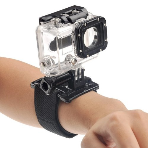 Goliton® Adjustable hand wrist armband strap mount belt for GoPro HD Gopro Hero4/3+/3/2/1 Camera - Black