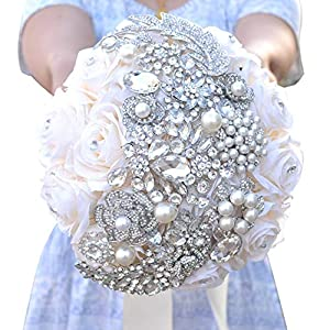 Bridal Bouquet Wedding Bouquets Pure Manual Hand Holding Flower White Artificial Fake Rose Flower Bridesmaid Decoration Bouquets 7