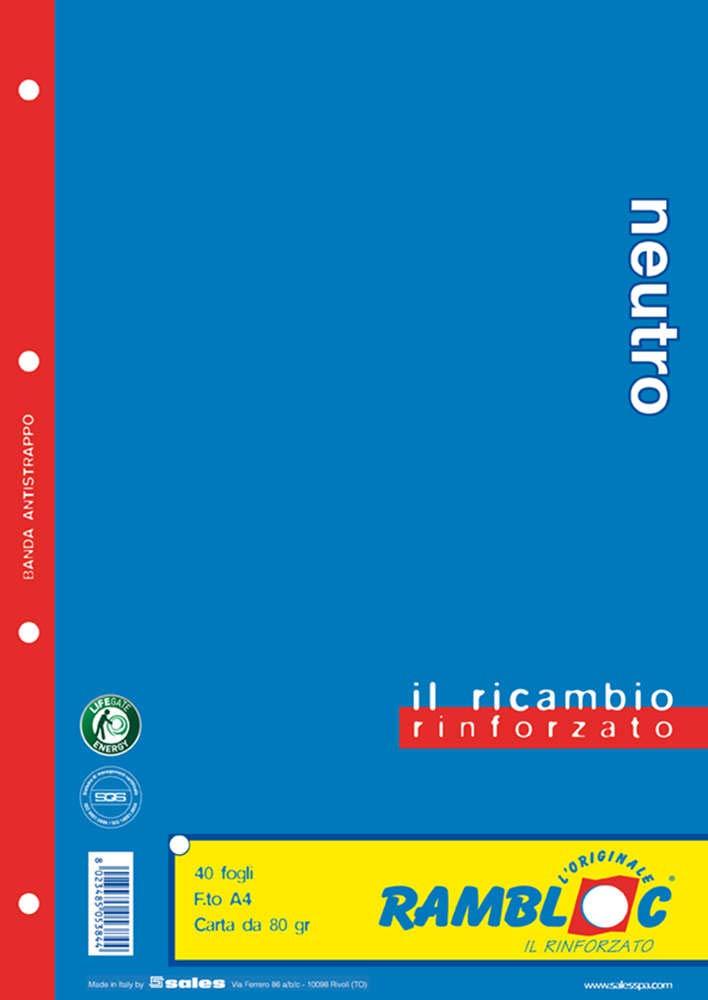 Ricambio rinforzato Rambloc Pacco da 4 Ricambi A4 Neutro (160 fogli totali) Sales Srl