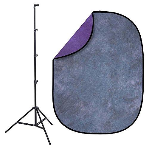 - Interfit PB307K Studio Essentials Collapsible - KIT - 5' x 6.5' Impressionist Series Pop-Up Reversible Background with Stand & Clip - Nocturne, Dark Purple/Dark Gray/Light Gray