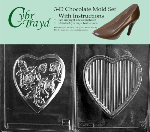 - Cybrtrayd V067BC Chocolate Candy Mold, Includes 3D Chocolate Molds Instructions and 2-Mold Kit, Large Pour Box Rose Top