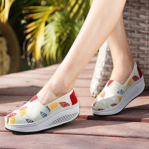 Solshine Women's Leaves Print Canvas Casual Shoes Sneakers Runners Loafers Beige zUTSmQDZbj