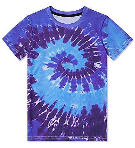 - Funnycokid Boys Girls Tie-Dye T-Shirts Short Sleeve Summer Ocean Rainbow Tees Unisex 6-8
