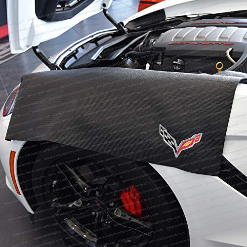 Corvette Fender Mat with C7 Crossed Flags Logo - Fender Covers Corvette