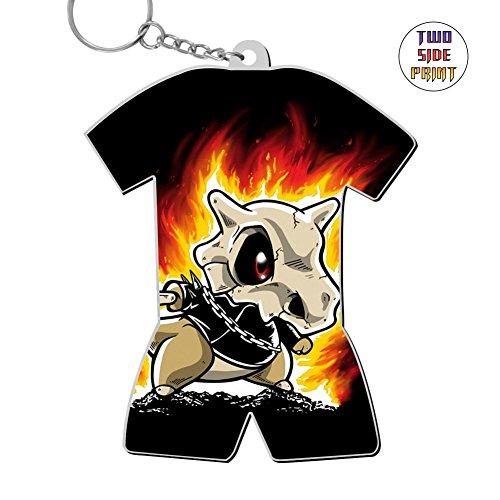 Custom Keychain Cubone On Fire Keyring World Cup Polo Shirt Logo Key Ring Key Fob Alloy Nice Gift (Key Fobs Rider)