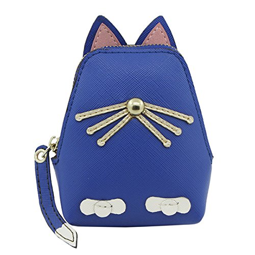 Sac Femmes À Forme Kitty Pièce Animale Wallet Mignon PU TENGGO Bleu Main Chat Sac Royal Cuir Rose T4nggAq