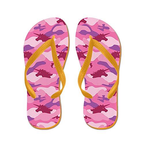Roze Eenhoorn Camouflaced Cafepress - Flip Flops, Grappige Thong Sandalen, Strand Sandalen Oranje
