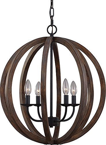 Feiss F2935/4WOW/AF Allier Pendant Lighting, Brown, 4-Light (21