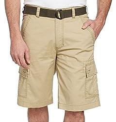 Wearfirst Men's Cargo Shorts With Built In Belt,(Size: 38, Vintage Khaki)