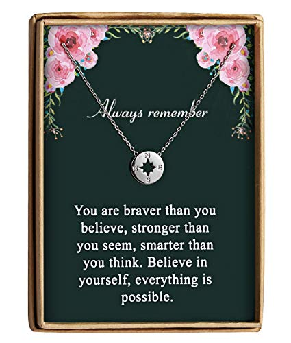 Back to School Gift Dainty Compass Friendship Necklace For Women Always Remember You Are Braver Stronger Smarter Than You Think (College Jewelry Pendant)