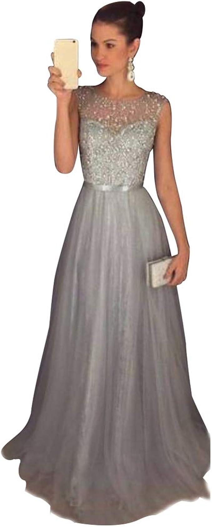 Jitong Damen Ärmellos Abendkleider mit Pailletten Partykleider  Rundhalsausschnitt Hochzeit Langes Festlichkleider Brautjungfer Kleid