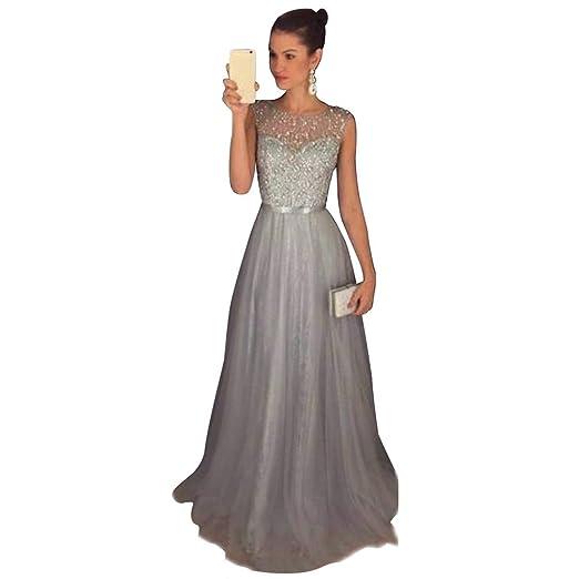 40d9824698eb Jitong Donna Vestito Paillettes Lungo Senza Maniche Girocollo Abito da Sera  Matrimonio Vestiti da Cerimonia