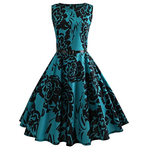 Women Dress Daoroka Sexy Vintage Floral Print Sleeveless Bodycon Casual Evening Party Prom Swing Dress With Belt Clearance A Line Pleated Mini Sundress Skirt (2XL, Green) -