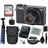 Canon PowerShot G9 X Mark II Digital Camera (Black) with Bundle Package Deal –SanDisk 32gb SD Card + Camera Case + Gripster Tripod + More