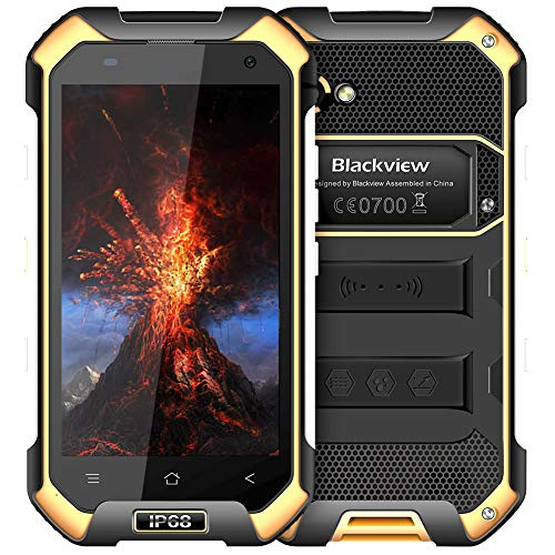 (Rugged Cell Phones Unlocked,Blackview BV6000S Unlocked Smartphones IP68 Waterproof,Android 7.0 4G Dual SIM,4.7 Inch Quad Core 2GB+16GB,4500mAh Battery,[MIL-STD 810G],NFC,for AT&T T-Mobile,Yellow)