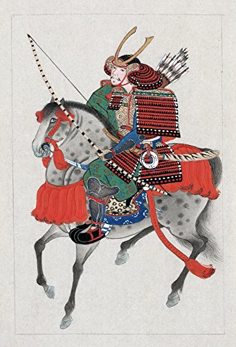Japan Samurai C1878Na Samurai On Horseback Wearing Armor And A Horned Helmet And Carrying A Bow And Arrows Ink Drawing With Colors From The Military Arts Series C1878 Poster Print by (18 x 24)