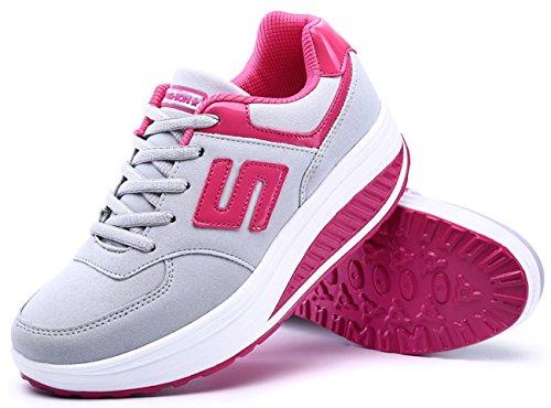 Deportivos De Transpirable Rosa Primavera Ocasionales Cordones con Moda Zapatos Balancín Zapatos Mujeres Otoño NEWCOLOR 8qFPRI