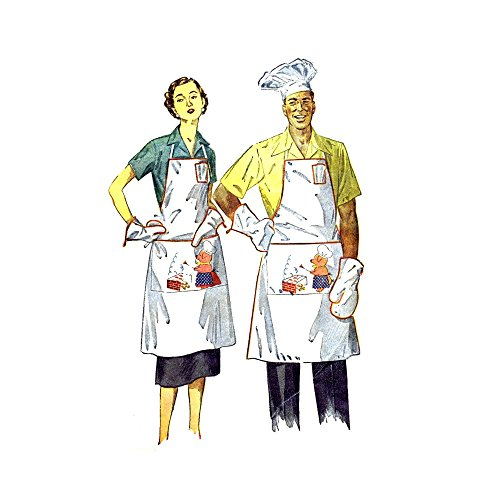 - 1950s Barbeque Apron Hat Mitt Simplicity 4061 Vintage Sewing Pattern