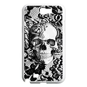 Diy Beautiful Floral Sugar Skull Custom Cover Phone Case for samsung galaxy note 2 White Shell Phone [Pattern-6]