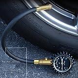 Car Tire Pressure Gauge, Elevin(TM) Digital Air Pressure Gauge Multi Emergency Tool Window Breaker Flashlight (Gold)