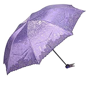 100% Satisfaction Guarantee+ Paradise Umbrella, Anti-uv Sun Umbrella, Parasol Series red triple folding umbrella voilet