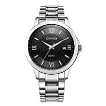 Comtex Mens Watches Stainless Steel Band Quartz Analoge Water Resistant Date Watch