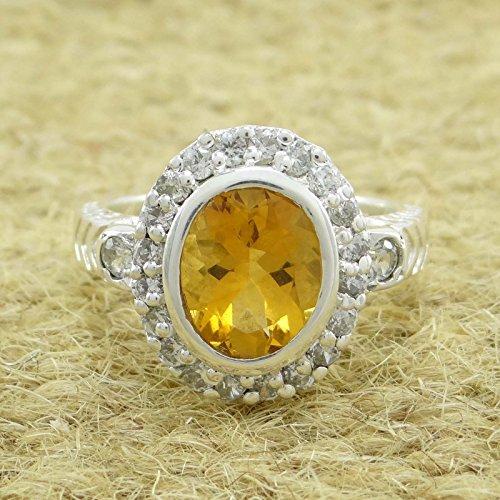 Banithani 925 bague design argent pierre citrine pur bande indienne cadeau de bijoux pour les femmes
