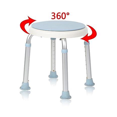 MCTECH® Duschhocker Duschstuhl Badehocker Höhenverstellbar Badhocker 360° Drehbar Duschhilfe Duschsitz Badsitz aus Alu und Ku