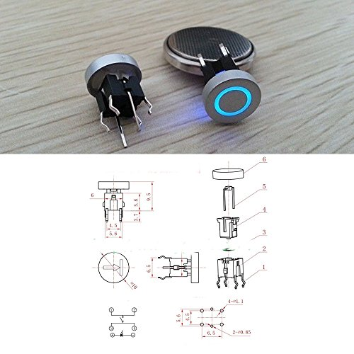 5pcs Blue LED 10mm Cap Circle 12V 50mA Momentary Tact Push Button Switch
