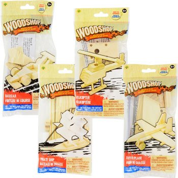 Woodshop DIY Wood Model Kits - Fighter Plane, Race Car, Helicopter (and Sailboat OR Pirate Ship) Kids Set of 4