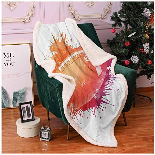 Sports Decor Fur Blanket Rugby Ball in Digital Watercolors Splash Recreational Leisure Sports Activity Run Design Frozen Blanket Orange Red 50