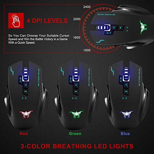 Wireless Mouse-Combatwing Gaming Mouse with Professional Ergonomic and Built-in Battery,Rechargeable Optical Gaming Mice with USB Nano Receiver for PC Laptop Computer Mac(above 10.4),4 Adjustable DPI by Combatwing (Image #5)