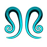 FreshTrends 0G Teal Spiral Helix Glass Hanger Taper Plugs - Pair