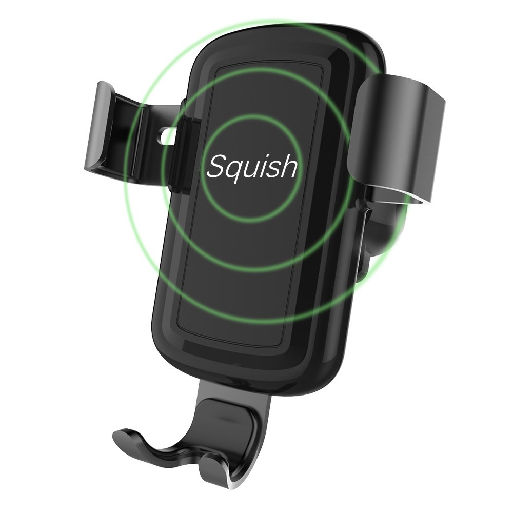 Squish Wireless Charger Car Mount Adjustable Gravity Air Vent Phone Holder for iPhone Samsung Nexus Moto OnePlus HTC Sony Nokia and Android Smartphones Qi Certified EZ061
