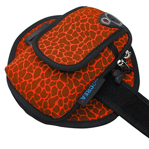 co2CREA(TM) Water Resistant Neoprene Sports Gym Jogging Bike Bicycle Running Case Armband For Apple iphone 6 6 Plus,Samsung Galaxy S4 S5 S6 Note, LG G3 F60 G2,HuaWei Sony HTC Google with small Accessores, Card, Key.Size: L (Sika Deer Pattern-Orange)