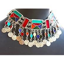 Salaam namaste Afghani Jewellery,Afghani choker, Alpaca silver,glass enamel work
