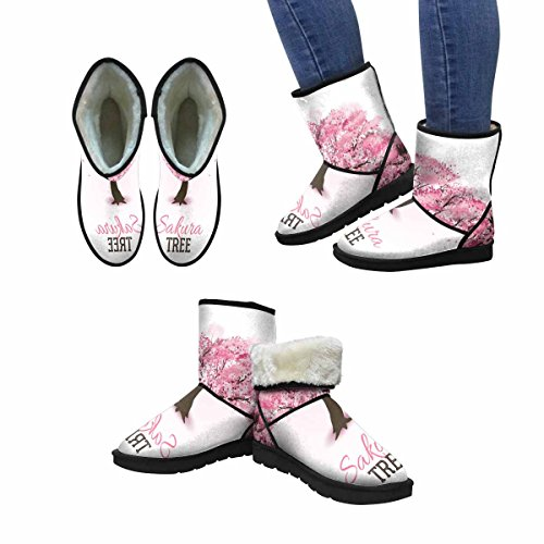 InterestPrint Womens Snow Boots Realistic Pink Blossoming Spring Japanese Sakura Cherry Tree Unique Designed Comfort Winter Boots Multi 1 AjwykHZRt
