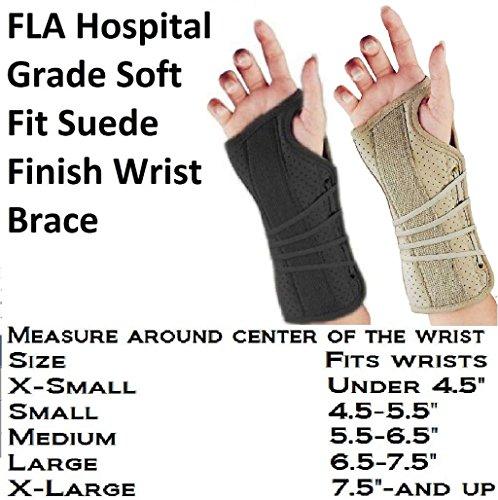 (FLA Soft Fit Suede Left Finish Wrist Brace, Black, Medium)