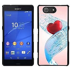 EJOY---Cubierta de la caja de protección para la piel dura ** Sony Xperia Z3 Compact ** --Corazón del amor del Agua