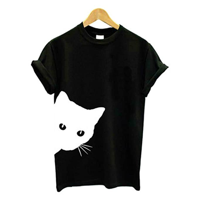 cat looking out side Print Women tshirt Cotton Casual Funny t shirt For Lady Gir
