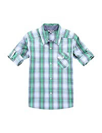 Bienzoe Boy's Cotton Plaid Roll Up Button Down Sports Shirts