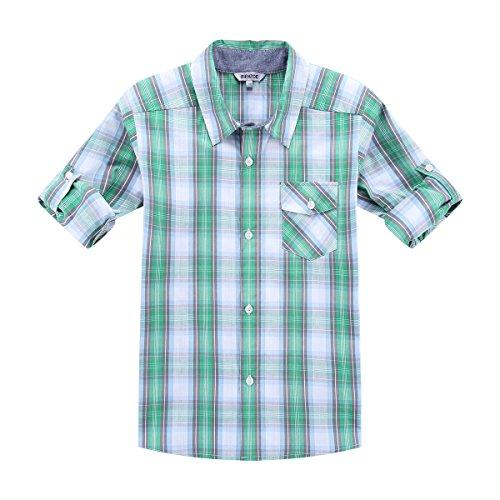 Bienzoe Boy's Cotton Plaid Roll Up Button Down Sports Shirts Green/Grey 5/6
